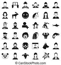 Profile icons set, simple style - Profile icons set. Simple...