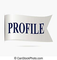 Profile label, silver ribbon badge illustration