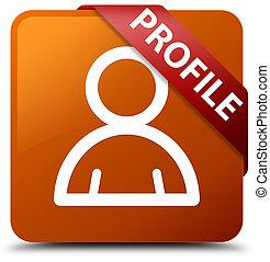 Profile (member icon) brown square button red ribbon in corner