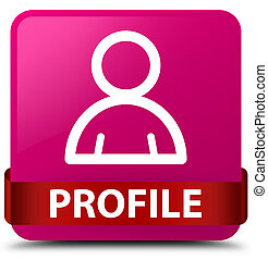Profile (member icon) pink square button red ribbon in middle