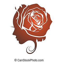 Profile of a beautiful girl with a rose