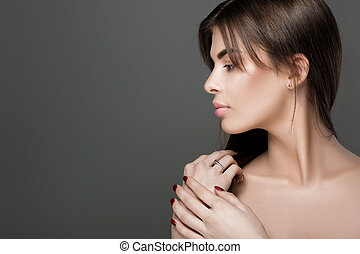 woman with perfect skin and natural make-up - profile of a...