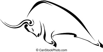 Profile of a bull isolated on a white background. Trademark...
