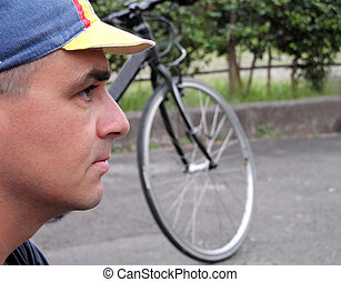 Profile of a cyclist