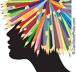 Profile of a girl and crayons