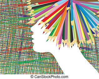 Profile of a girl crayons and their