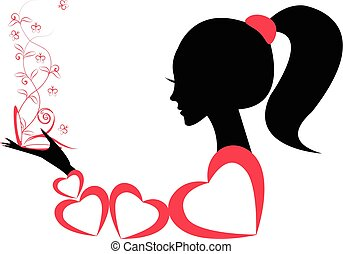 Profile of a girl or a woman. vector
