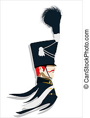 Profile of a Hussar. Abstract art.