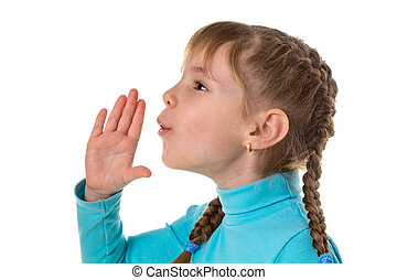 Profile of a little girl blows with an empty hand, isolated on white landscape background