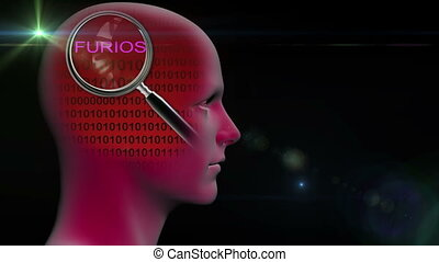 profile of a man with close up of magnifying glass on word furios