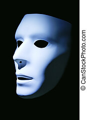Profile of a Mask - A white mask with a blue hue against a...