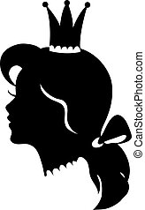 Profile of a princess or queen. Vector silhouette illustration.