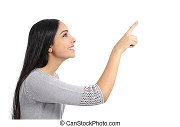 Profile of a woman pointing an advertisement