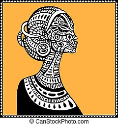 Profile of beautiful African woman. Hand drawn ethnic...