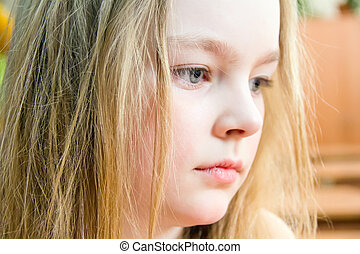 Profile of girl seven years old