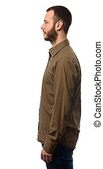 profile of handsome man with beard. Isolated on white...