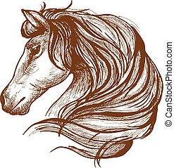 Profile of horse with flowing mane, sketch style - Graceful...