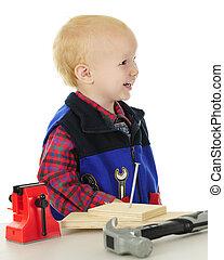 """Profile of Laughing Toddler """"Handyman"""""""