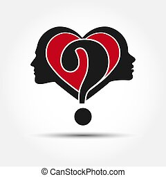 Profile of male and female head with heart and question mark. The concept of relationships between men and women.
