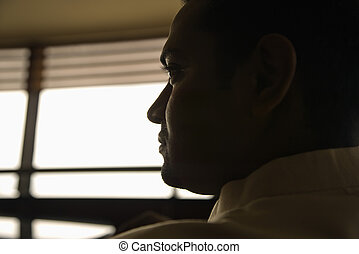 Profile of man. - Profile view of young adult male Indian...