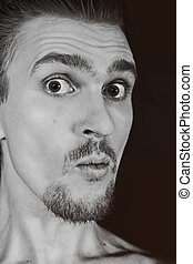 profile of man with funny face
