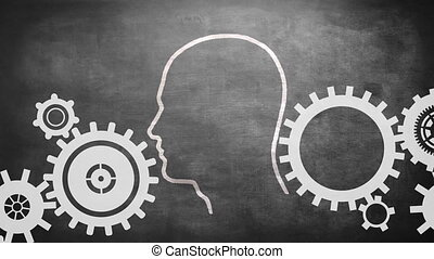 Profile of man with light bulb and gears