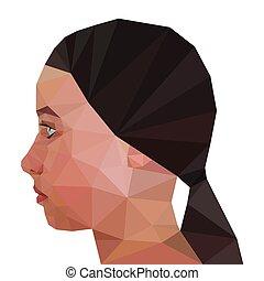 Profile of Modern Girl, geometric triangular trendy stile