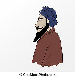 Profile of Old Caucasian man