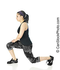 Profile of Teen Girl Lunging