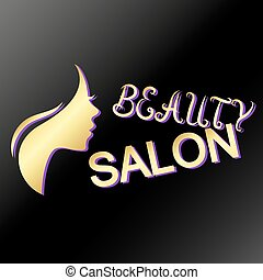 Profile of the girl beauty salon of gold color