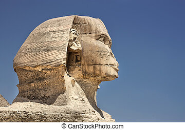 profile of the Great Sphinx  in Giza, Egypt