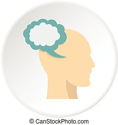 Profile of the head with cloud inside icon circle