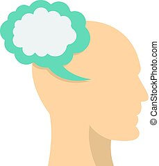Profile of the head with cloud inside icon