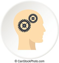 Profile of the head with gears inside icon circle