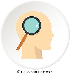 Profile of the head with magnifying glass icon