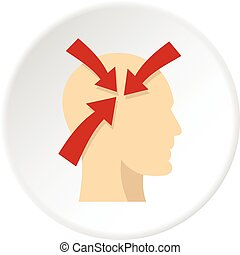 Profile of the head with red arrows inside icon