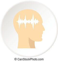 Profile of the head with sound wave inside icon
