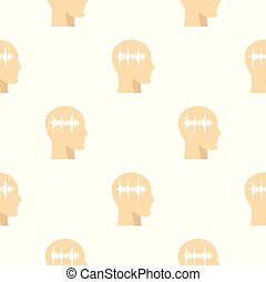 Profile of the head with sound wave inside pattern