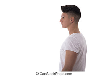 Profile of trendy young man in white t-shirt
