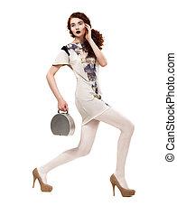 Profile of Urban Glamorous Fashion Model in Trendy Clothing. Lifestyle