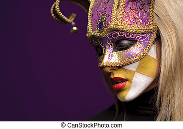 profile of woman in mask