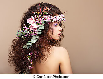 Profile of Woman with Colorful Wreath of Flowers. Valentine'...