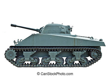 Profile of WWII Tank - A world war two tank in profile