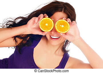 profile of young beautiful woman with orange - isolated