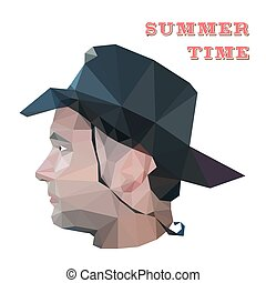 Profile of young man in origami style. Vector illustration