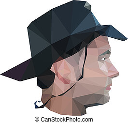 Profile of young man in origami style. Vector illustration.