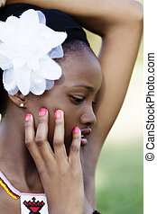 Profile Outdoor Portrait African American Teen Girl