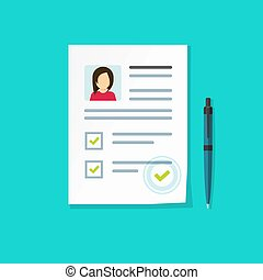 Profile paper document with personal data as employee hire interview cv or resume card and credential vector illustration, flat cartoon application form, recruitment checklist or customer evaluation