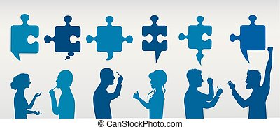 Profile people gesturing with puzzle pieces. Business solution. Concept problem solving team. Strategy and success. Client service. Blue and gray color