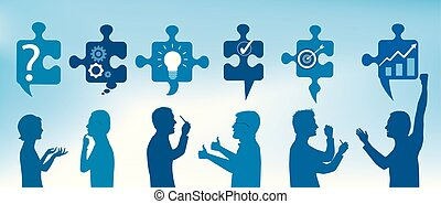 Profile people gesturing with puzzle pieces with problem solving symbols. Business solution. Concept problem solving team. Strategy and success. Client service. Blue color